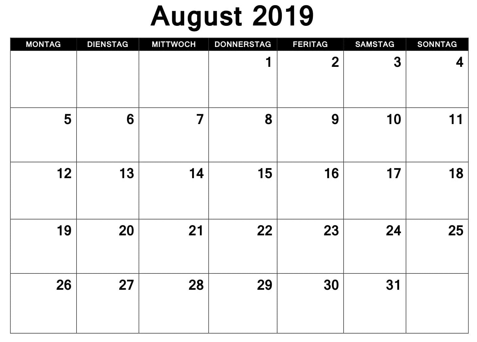 Kalender August 2019 Pdf August Excel Words