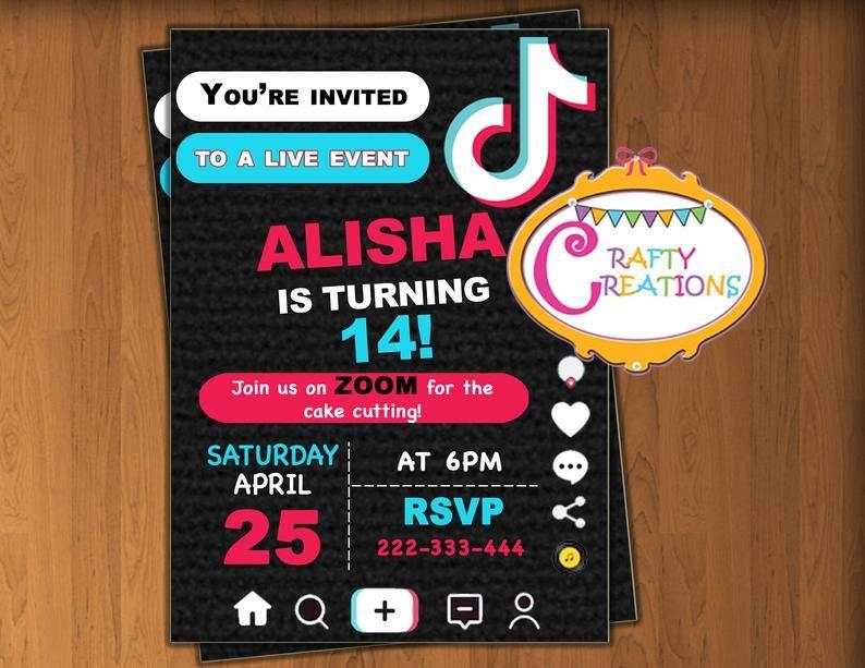 Tiktok Invitation Tiktok Invite Zoom Party Invite Virtual Birthday Celebration Printable Invitat Toy Story Invitations Printable Invitations Invitations