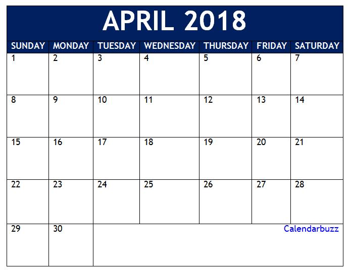April 2018 Vertical Calendar Template 2018 Calendar Templates
