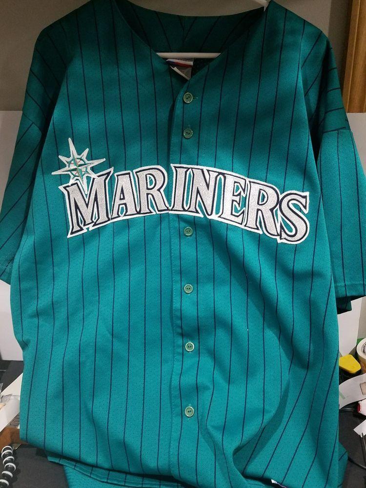 Seattle Mariners Vintage 90s Majestic Teal Pinstripe Mlb Baseball Jersey Xxl Sports Mem Cards Fan Shop Fan Apparel Baseball Jerseys Mlb Baseball Mariners