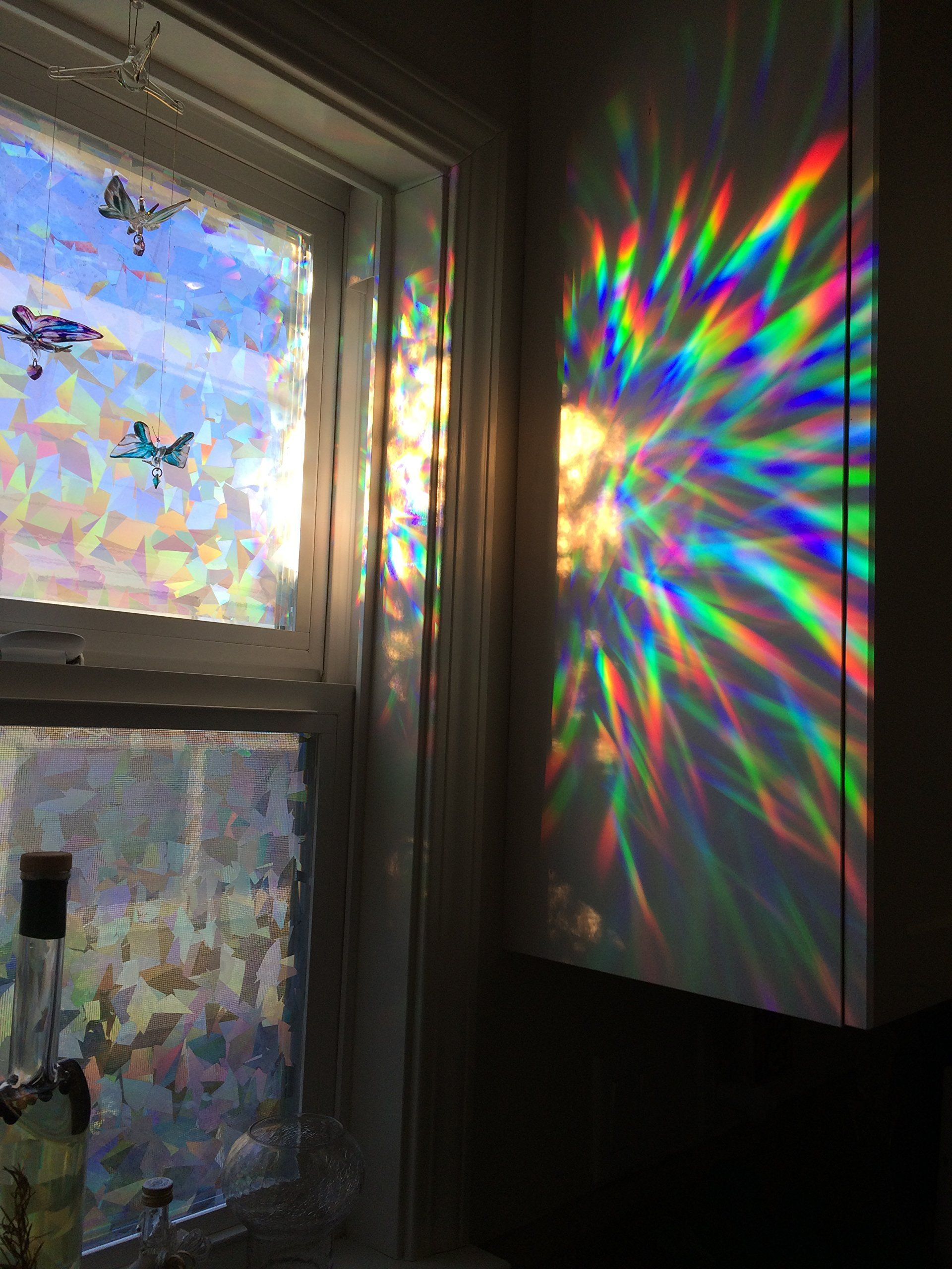Beach theme decoration stained glass window panels arts crafts - Decorative Window Film Holographic Prismatic Etched Glass Effect Fill Your House With Rainbow Light X Panels