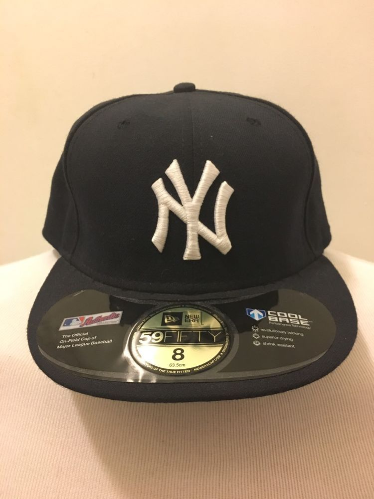 New York Yankees Fitted Hat 8 New Era Cool Base 5950 With Stickers New Old Stock Ebay Yankees Fitted Hat Yankee Fitted Fitted Hats