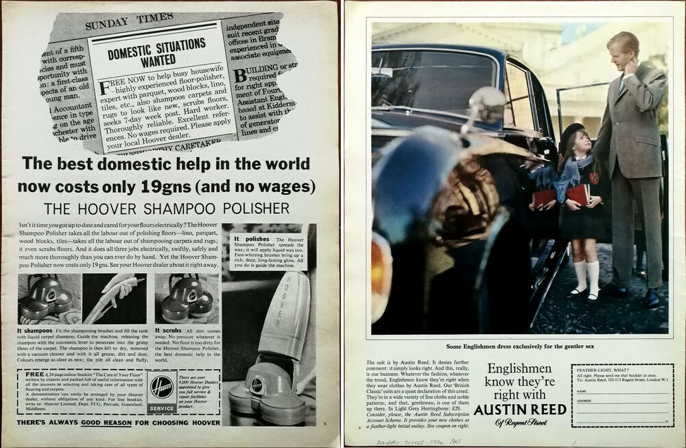 Details About Hoover Shampoo Polisher Best Domestic Help In The World Austin Reed Ad 1965 In 2020 Vintage Advertisement Hoover Vintage Ads