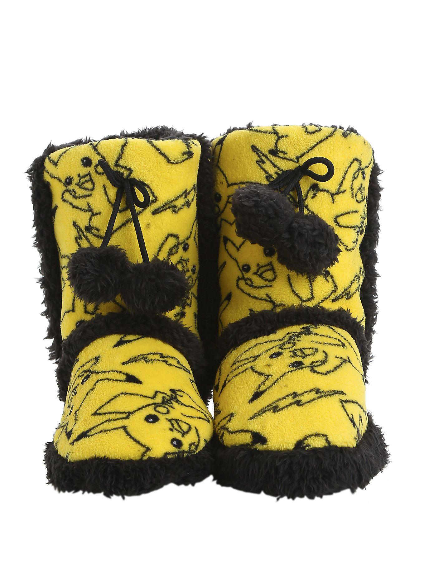61126bb1398638 Pokemon Pikachu Knit Pom Slipper Boots   Pin of the Day   Slipper ...