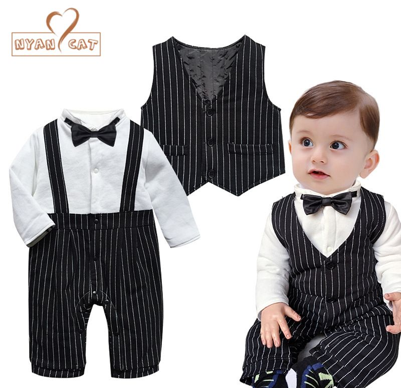 039a9c3f267d Nyan Cat Baby boy clothes gentlemen wedding black striped bow tie full  sleeve winter romper+vest 2pcs set party wedding costume #WinterWedding