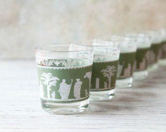 Mid Century Glassware Jeannette Glass Green Hellenic Tumblers Set of 6 Jasperware, Jeannette Glass Co. Greek or Grecian Helenic Tumblers