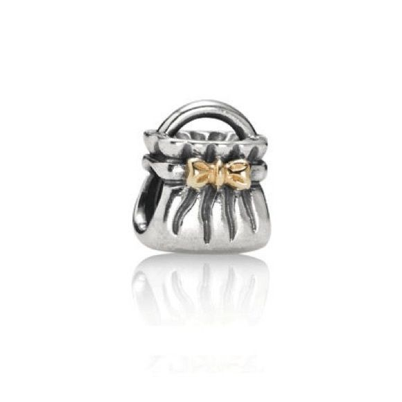 100 Authentic Pandora Bow Purse Handbag Charm Sterling Silver With 14k Yellow Gold Accent Fits Trollbeads Chamilia Too Jewelry