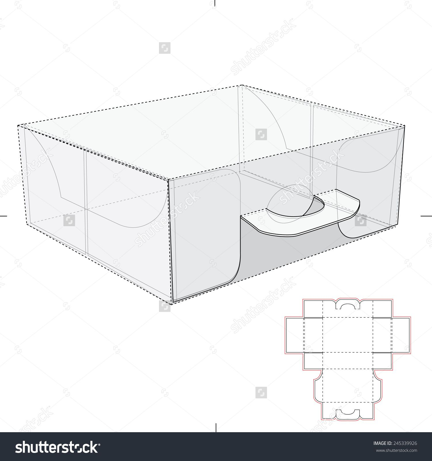 carrier box with handles and die cut templates stock vector