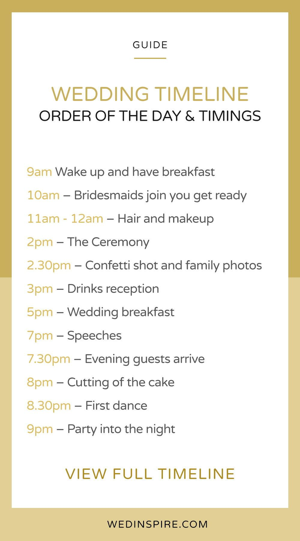 Good wedding day timeline to follow! Wedding schedule