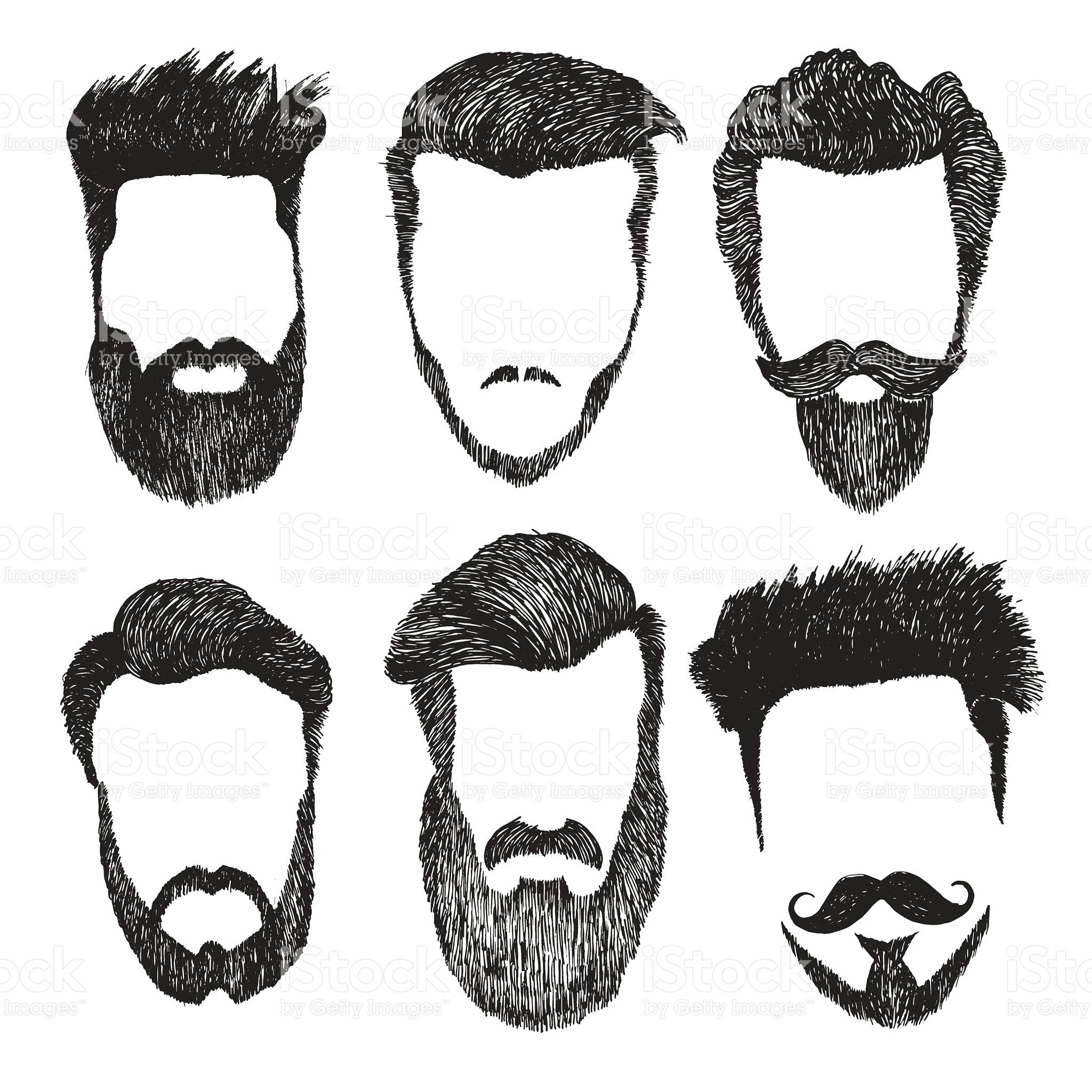9c5c96863b7 Hand drawn vector set of dress up constructor. Different men faces ...