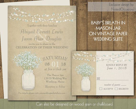 Rustic Wedding Invitation Set Mason Jar Wedding Baby\'s Breath Babys ...