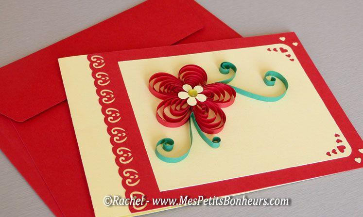 mother's day flower card - carte fleur quilling fete des meres