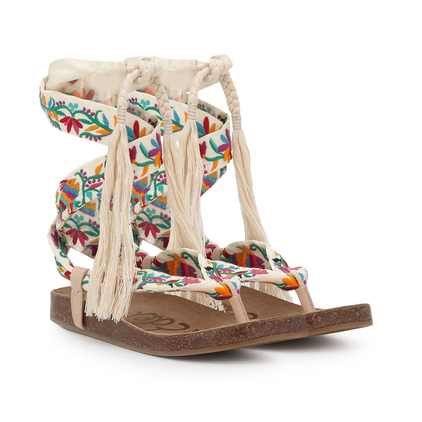 Kelby Embroidered Lace-Up Sandal