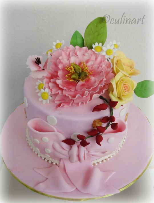 Pink Peony and Roses cake