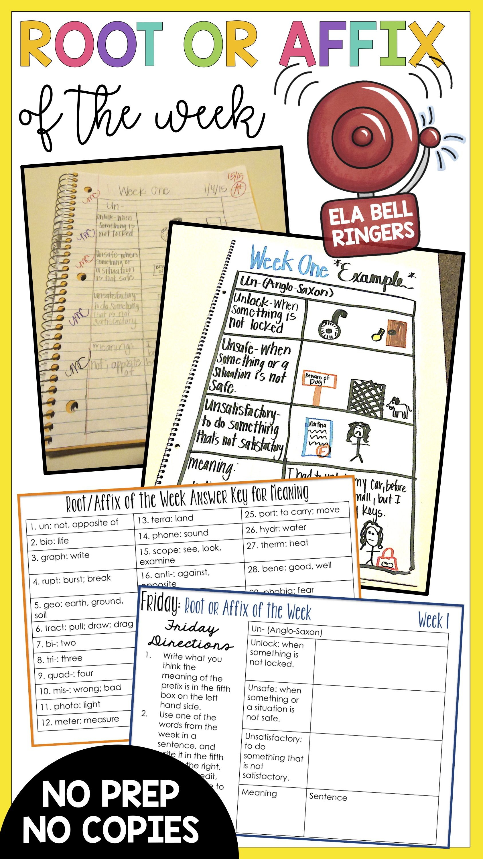 Root Words And Affixes Ela Bell Ringers For Middle School