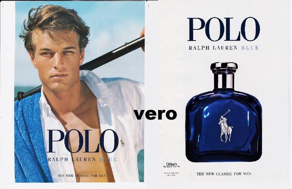 33741d139497 POLO BLUE Ralph Lauren 2006 magazine ad COLOGNE parfum perfume with test  strip