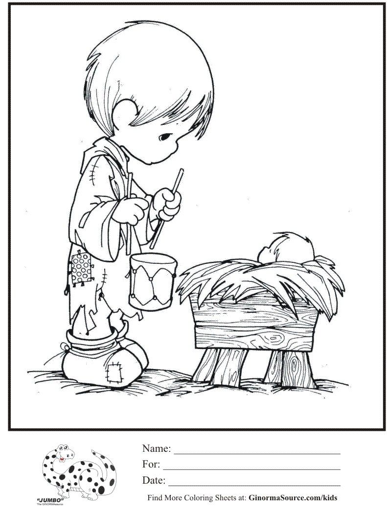 Baby jesus coloring pages coloring page precious moments little drummer boy baby jesus coloring