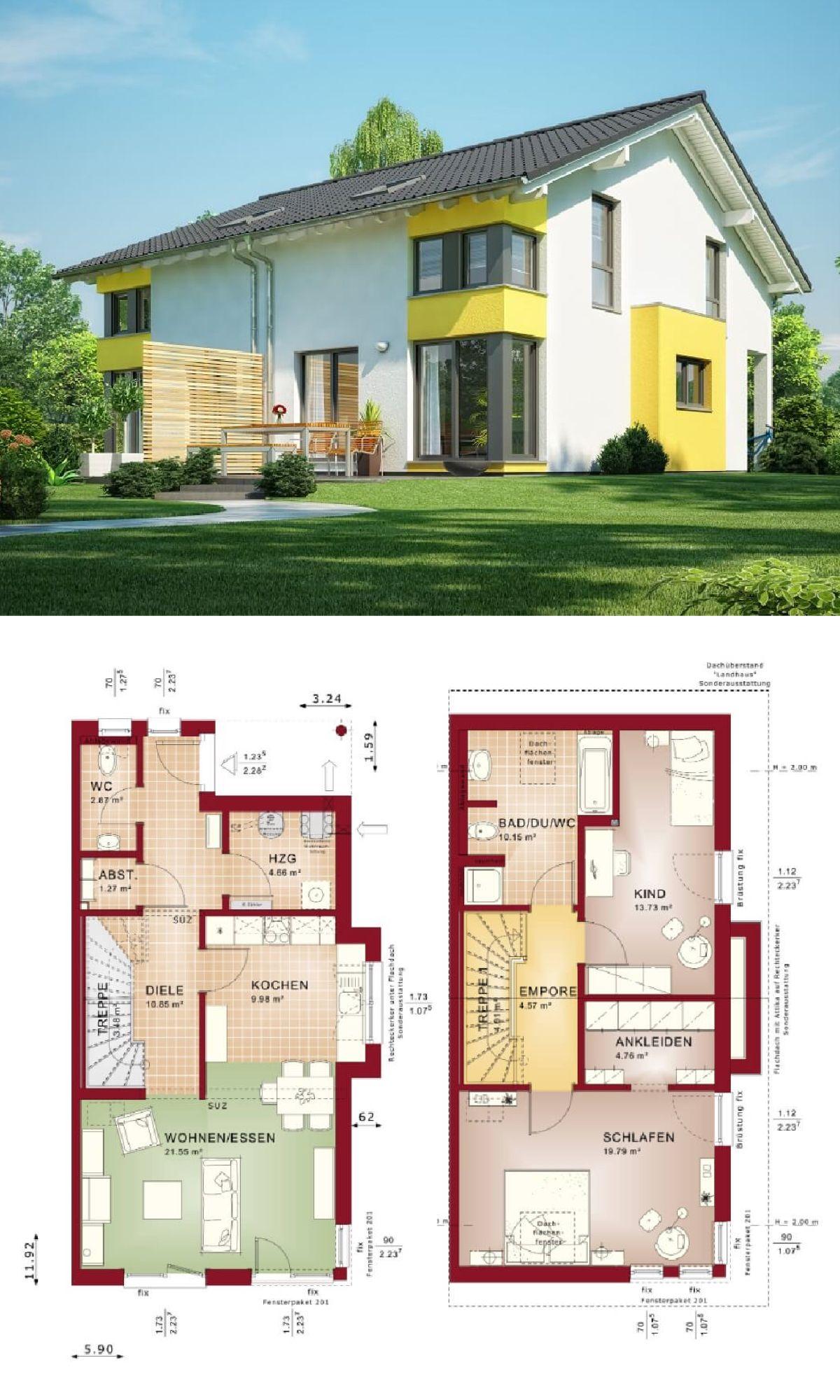 Doppelhaus mit satteldach haus celebration 110 v2 l bien for Modernes haus raumaufteilung