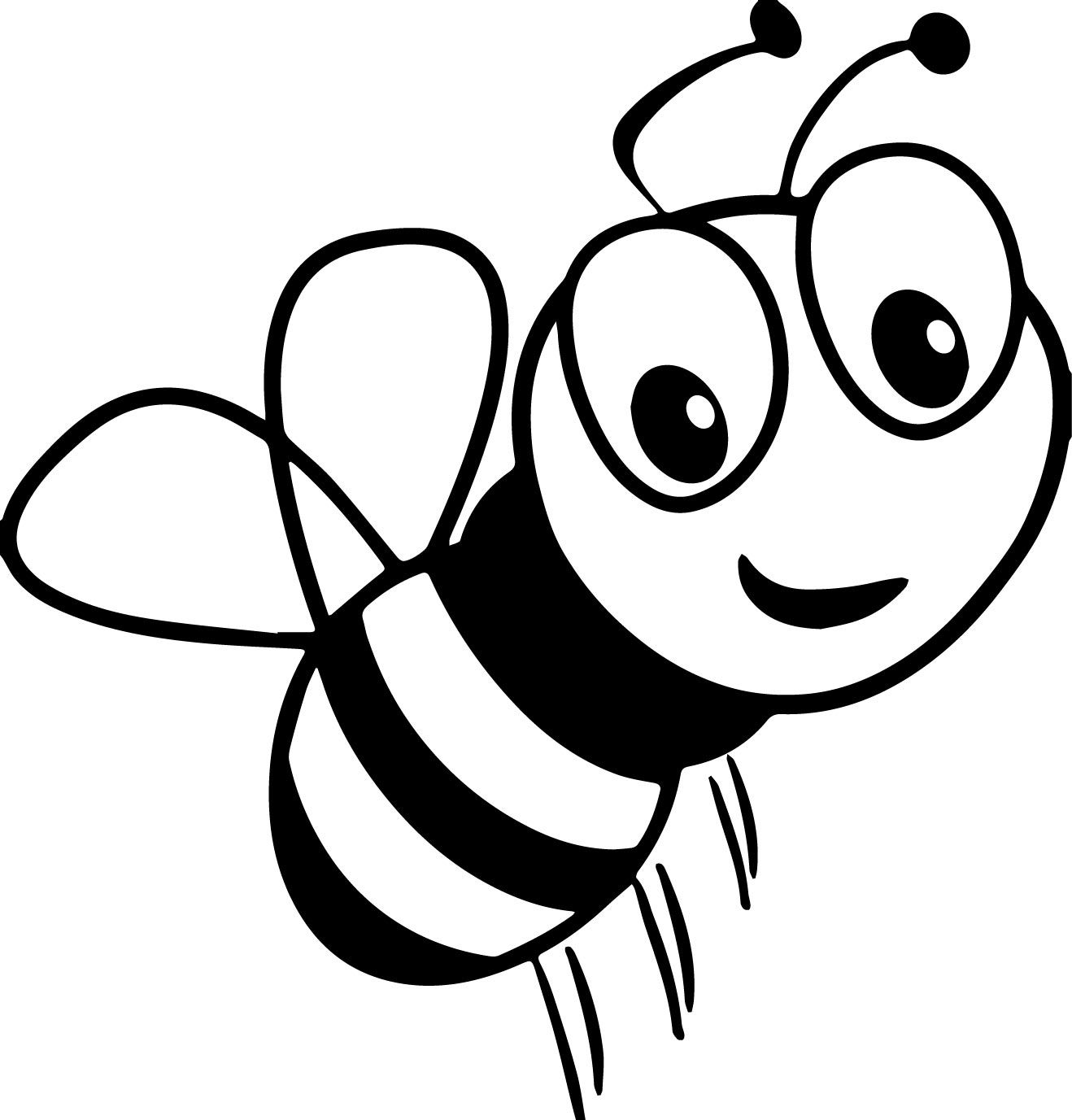 cool Cartoon Bee Smile Coloring Page Bee coloring pages