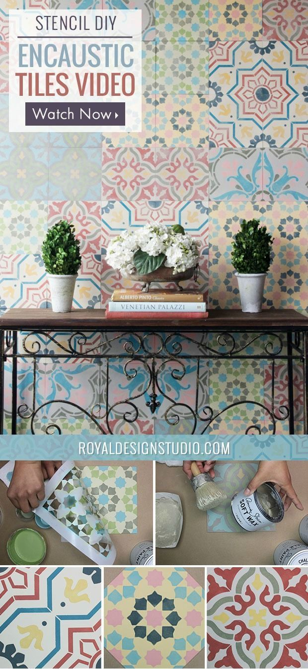 how to Stencil VIDEO Tutorial: Patterned and Painted Encaustic Tile Wall Decor from Royal Design Studio