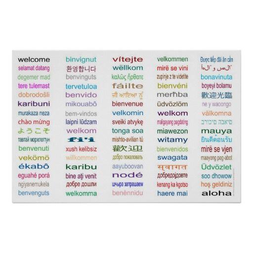 Begrüßen Sie das 80 Sprachplakat - 5 Größen/Weiß Poster | Knowledge