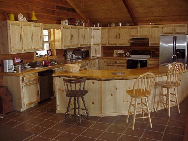 Image Of Lovable Log Cabin Kitchen Ideas With L Shaped Wall