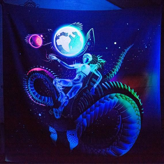 Space Traveler Psychedelic Fluorescent UV-Reactive