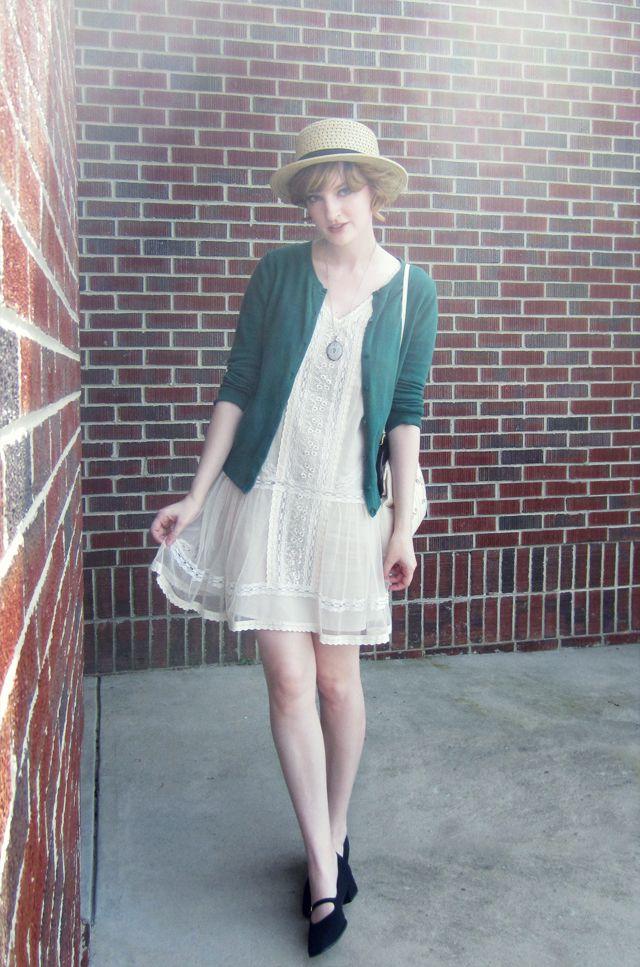Lace Dress, Green Cardigan
