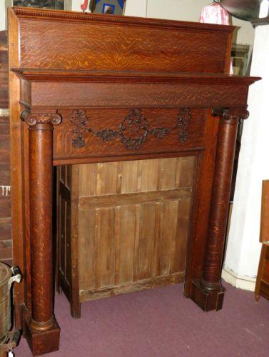 Antique Tiger Oak Fireplace Mantel 80 034 X60 034