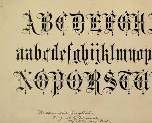 Alphabet In Modern Old English Zaner Bloser Penmanship