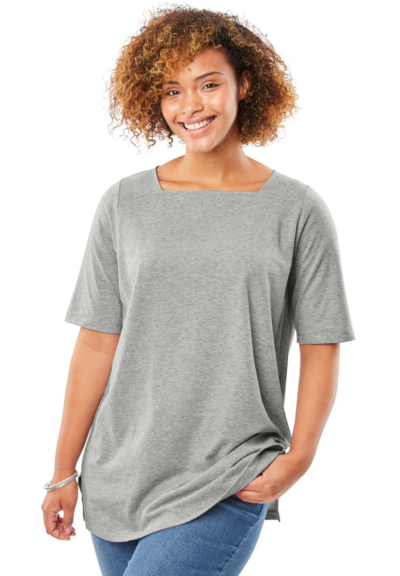 ca478f7770d5 Perfect square neck tee shirt - Women's Plus Size Clothing ...