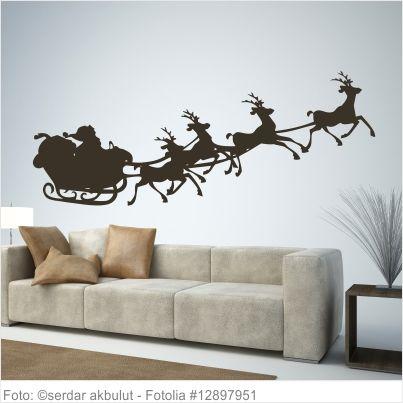 Wandtattoo Weihnachten - Weihnachtsmann mit Rentier Wandtattoo - wandtattoo für wohnzimmer