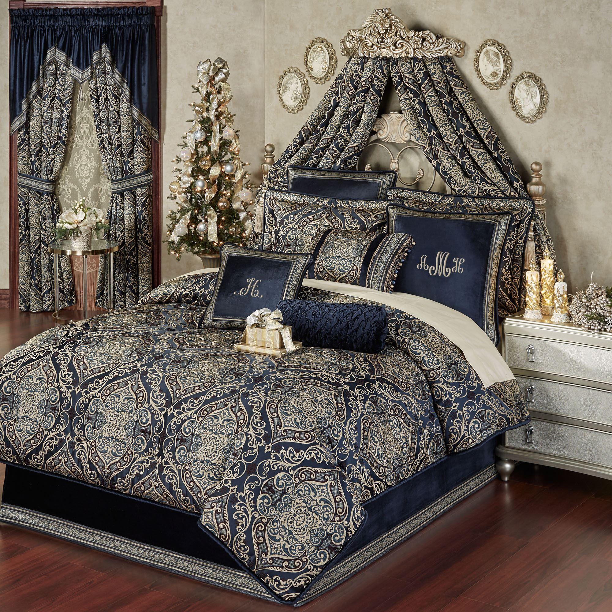 Virtuoso Midnight Damask Comforter Bedding Opulent Bedroom Bed Comforters Comforter Sets