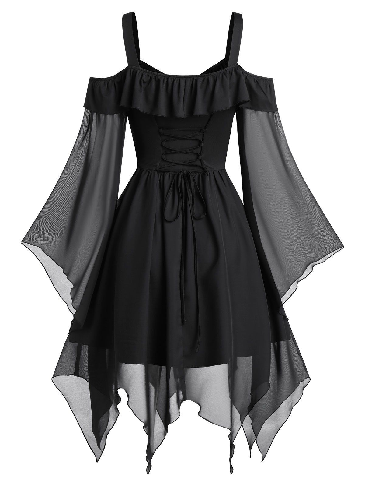 Dresslily Com Photo Gallery Butterfly Sleeve Cold Shoulder Lace Up Handkerchief Gothic Chiffon D In 2020 Teal Prom Dresses Black Gothic Dress Fashion Design Clothes