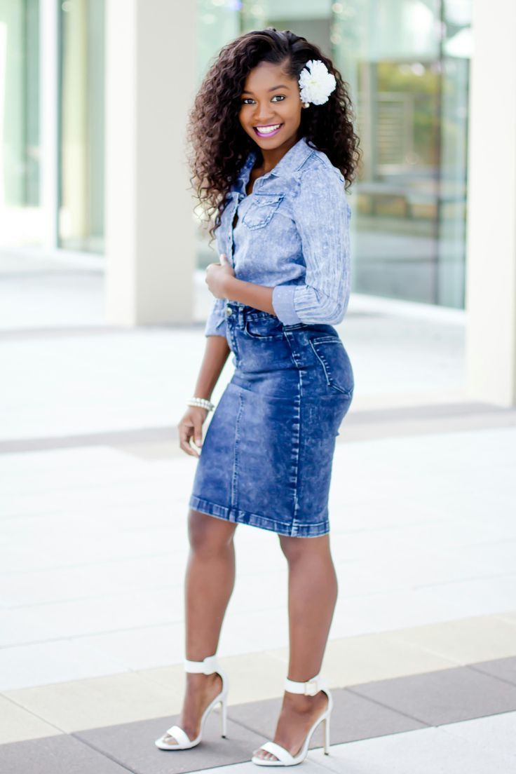 Women's Light Blue Denim Shirt, Blue Denim Pencil Skirt, White ...