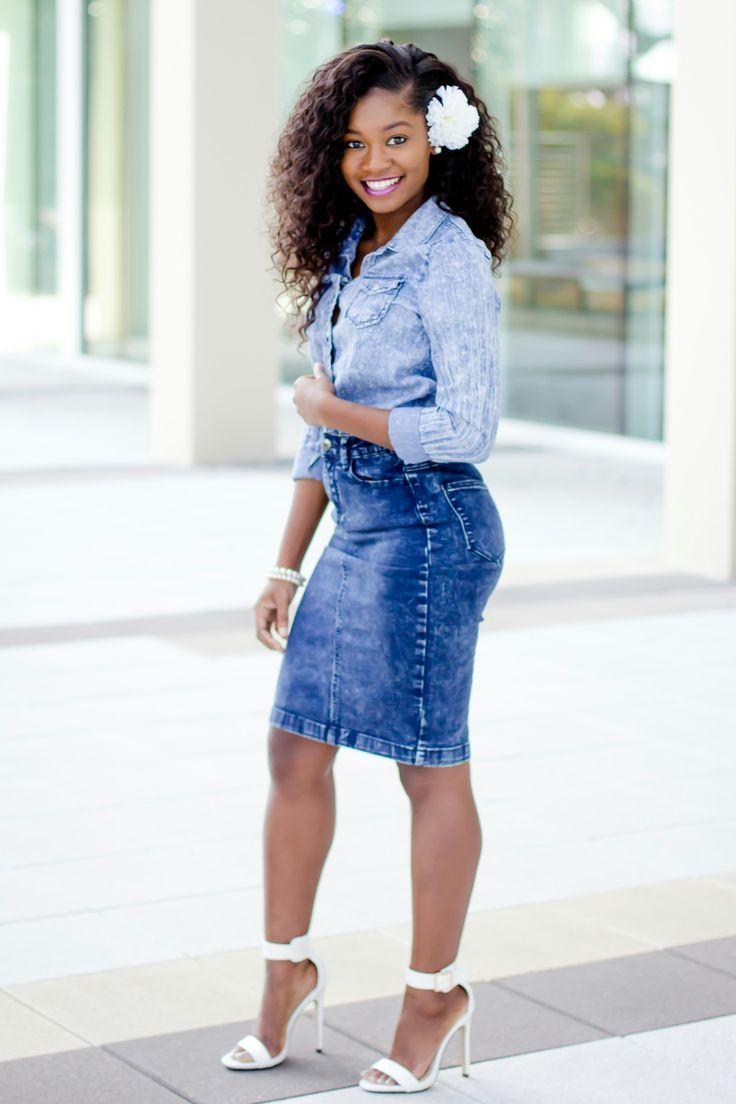denim shirt with white skirt wwwpixsharkcom images