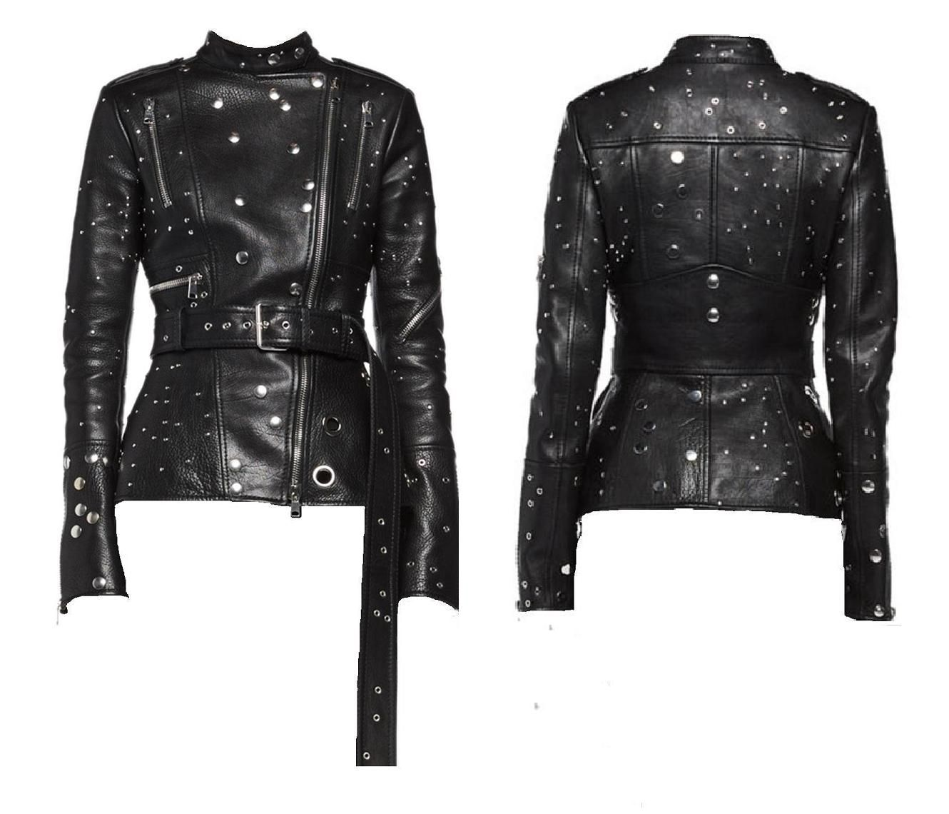 Hollywood Style Leather Jackets for Women New 2018 Cow