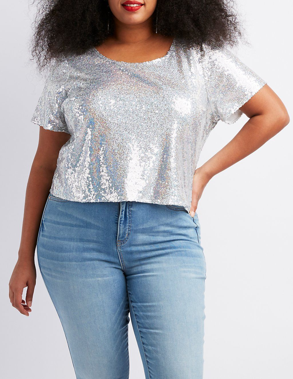 Plus Size Sequins Open Back Crop Top Tops Lace Tops Crop Tops