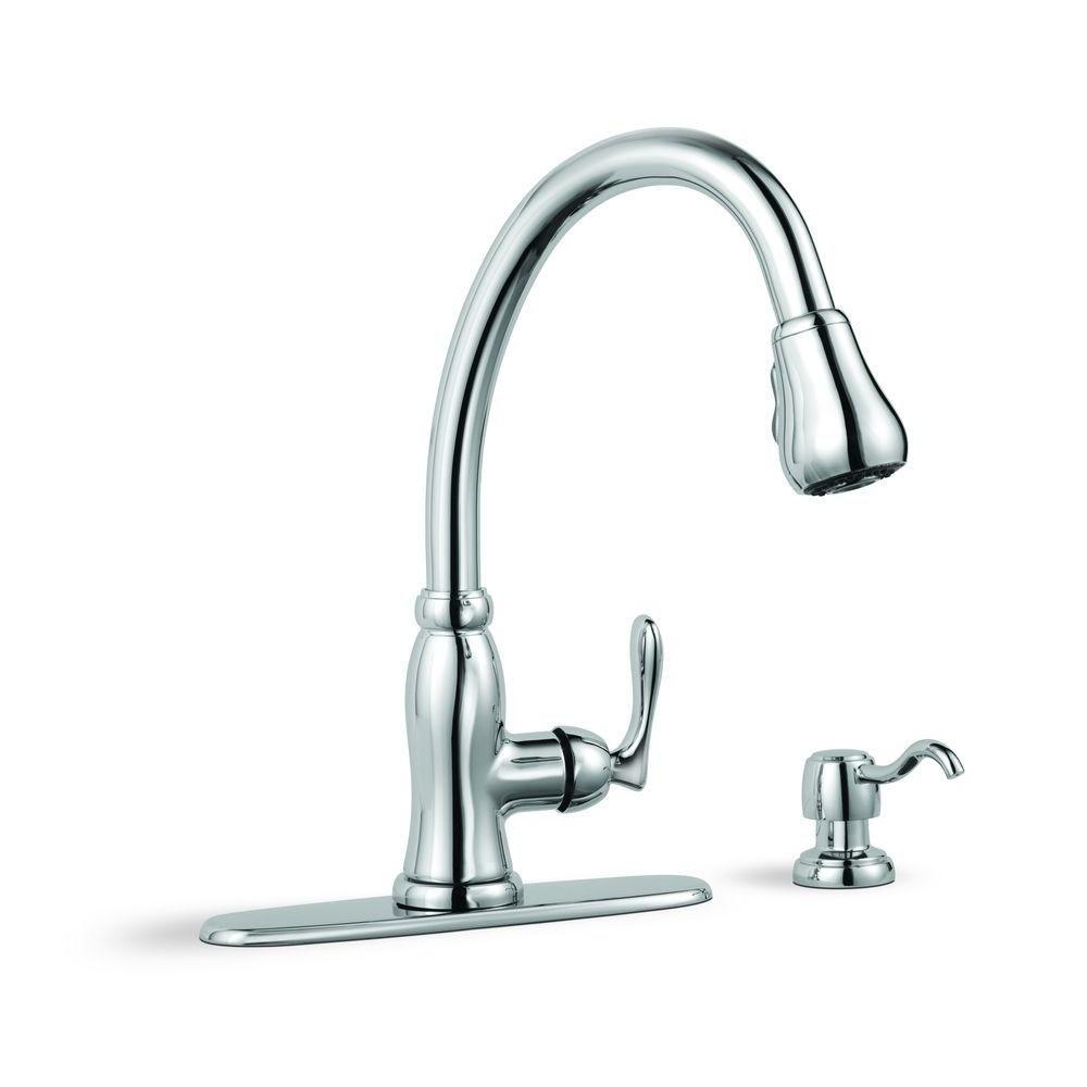 Glacier Bay Pavilion Single-Handle Pull-Down Sprayer Kitchen Faucet ...