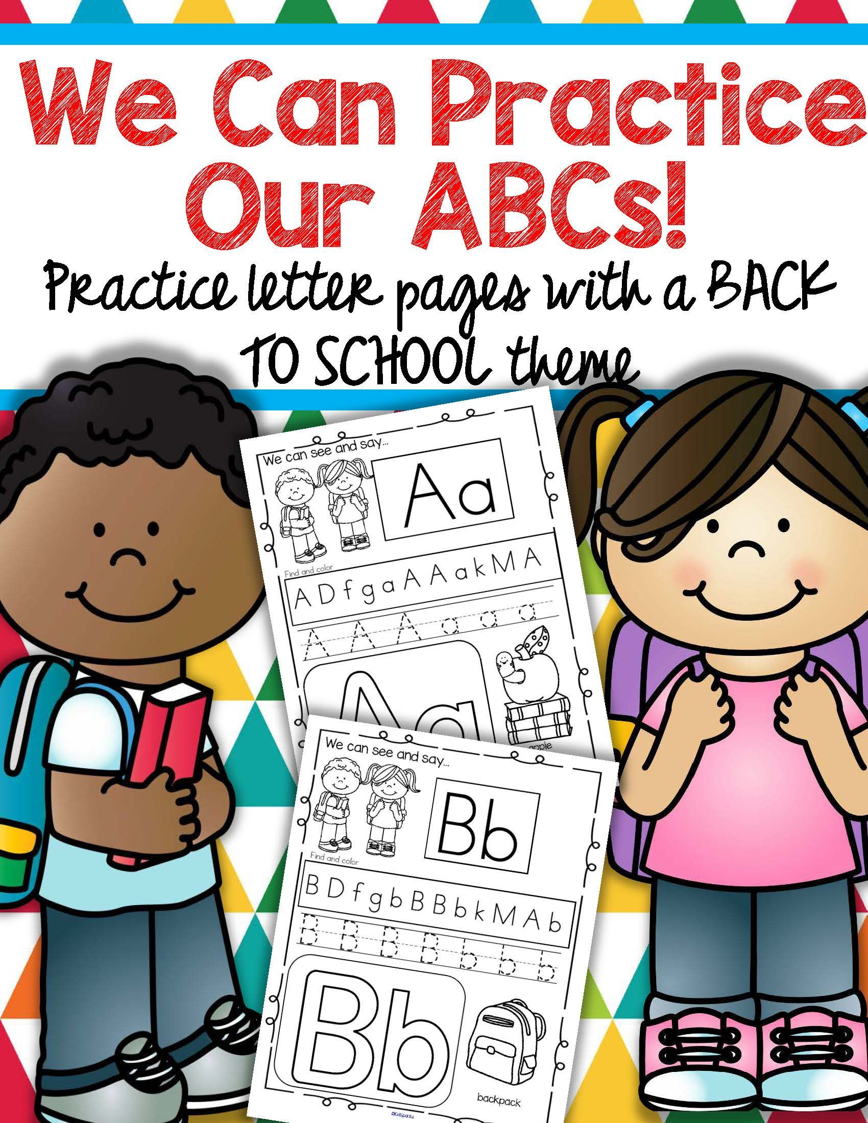Back To School Alphabet Printables Recognition Tracing