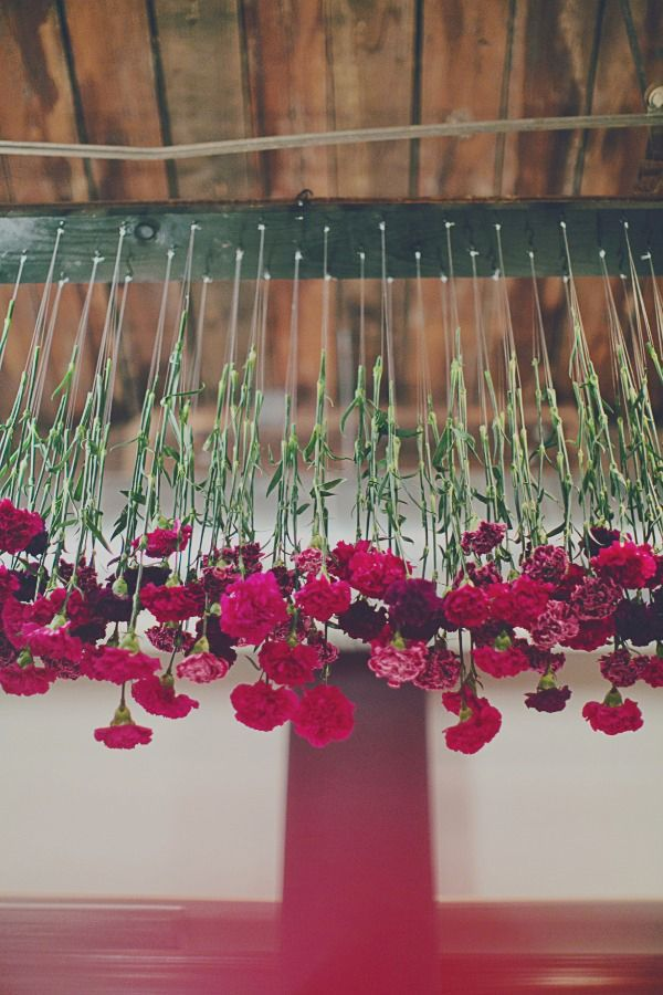 Whimsical Deep Red Wedding Floral Decorations
