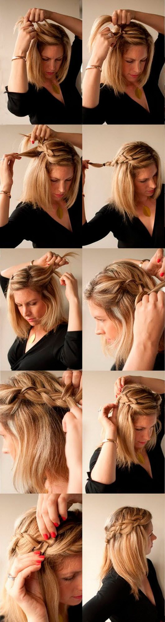 Hair in a ponytail first and divide conquer short blonde haircut