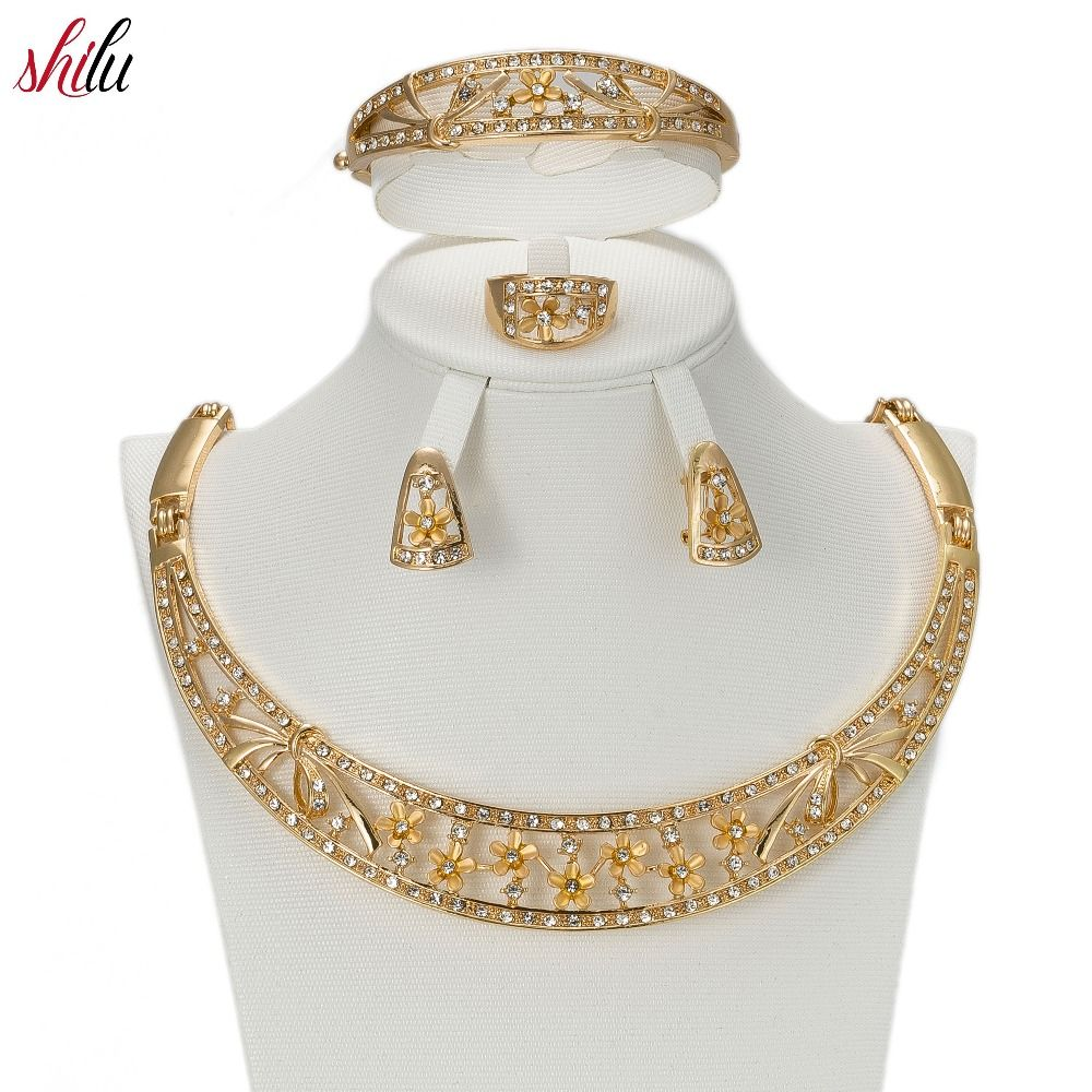 Shilu wedding dress accessories gold color jewelry sets for women