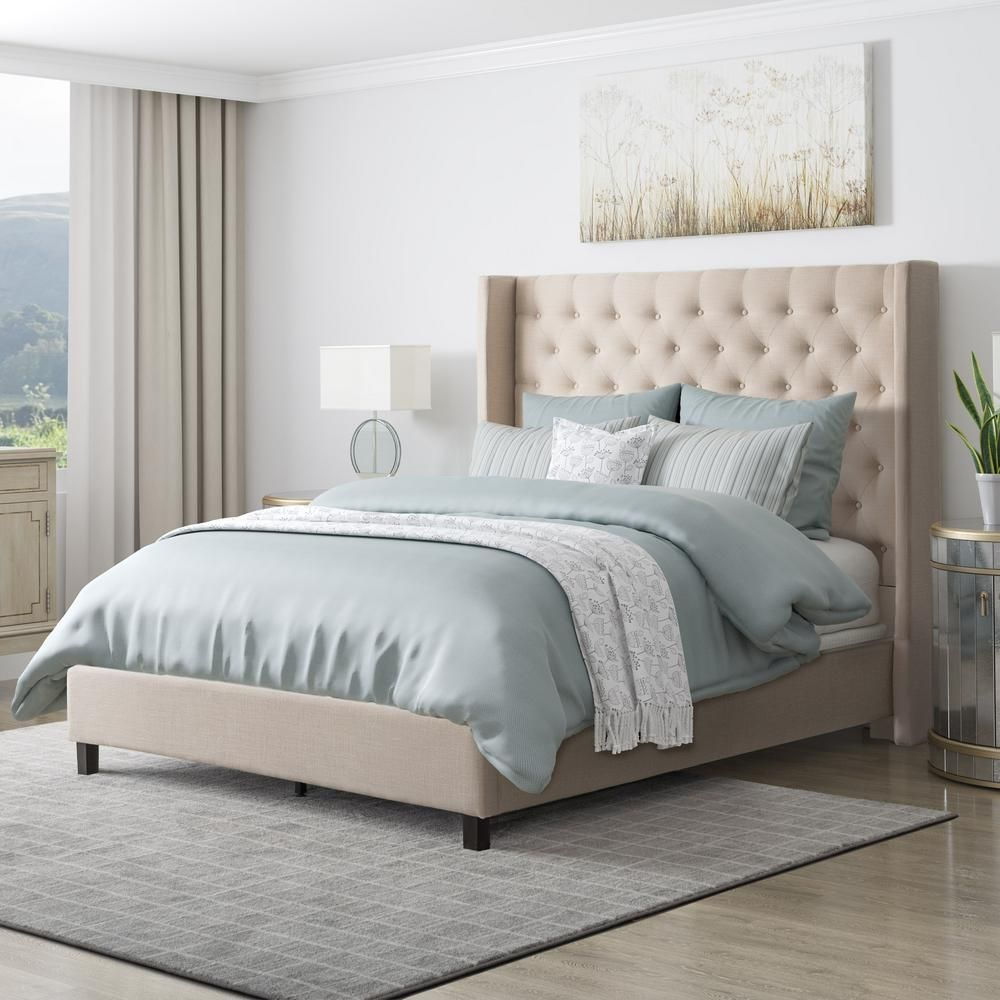 Best Corliving Fairfield Beige Tufted Fabric Twin Single Bed 400 x 300