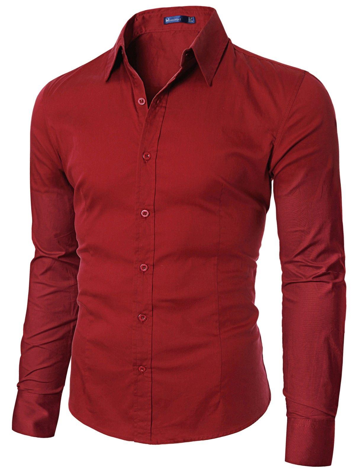 Mens Casual Unicolor long Sleeve Dress Shirt #doublju