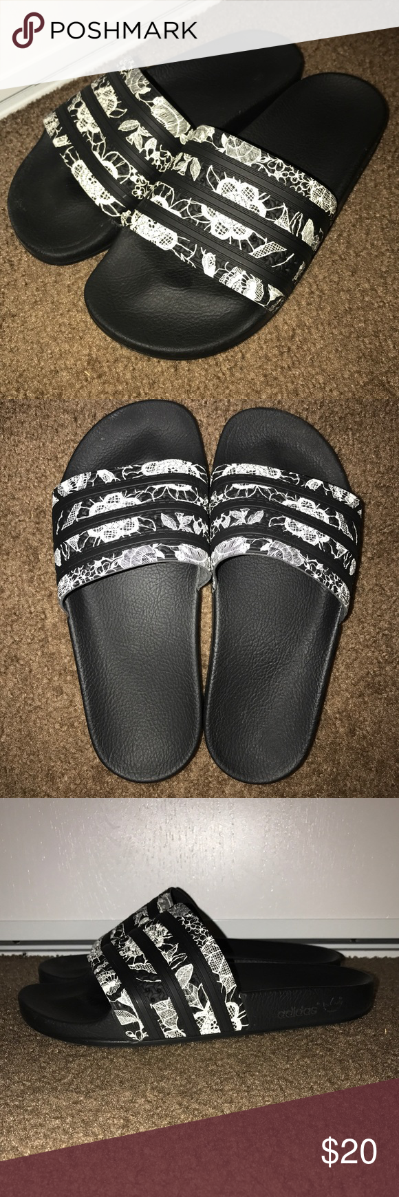 4c63579a9e6c Adidas Originals Adilette slides Women s Adidas Originals Adilette Slides  with flower design. Worn very few times. Condition 10 10 Adidas Shoes  Sandals