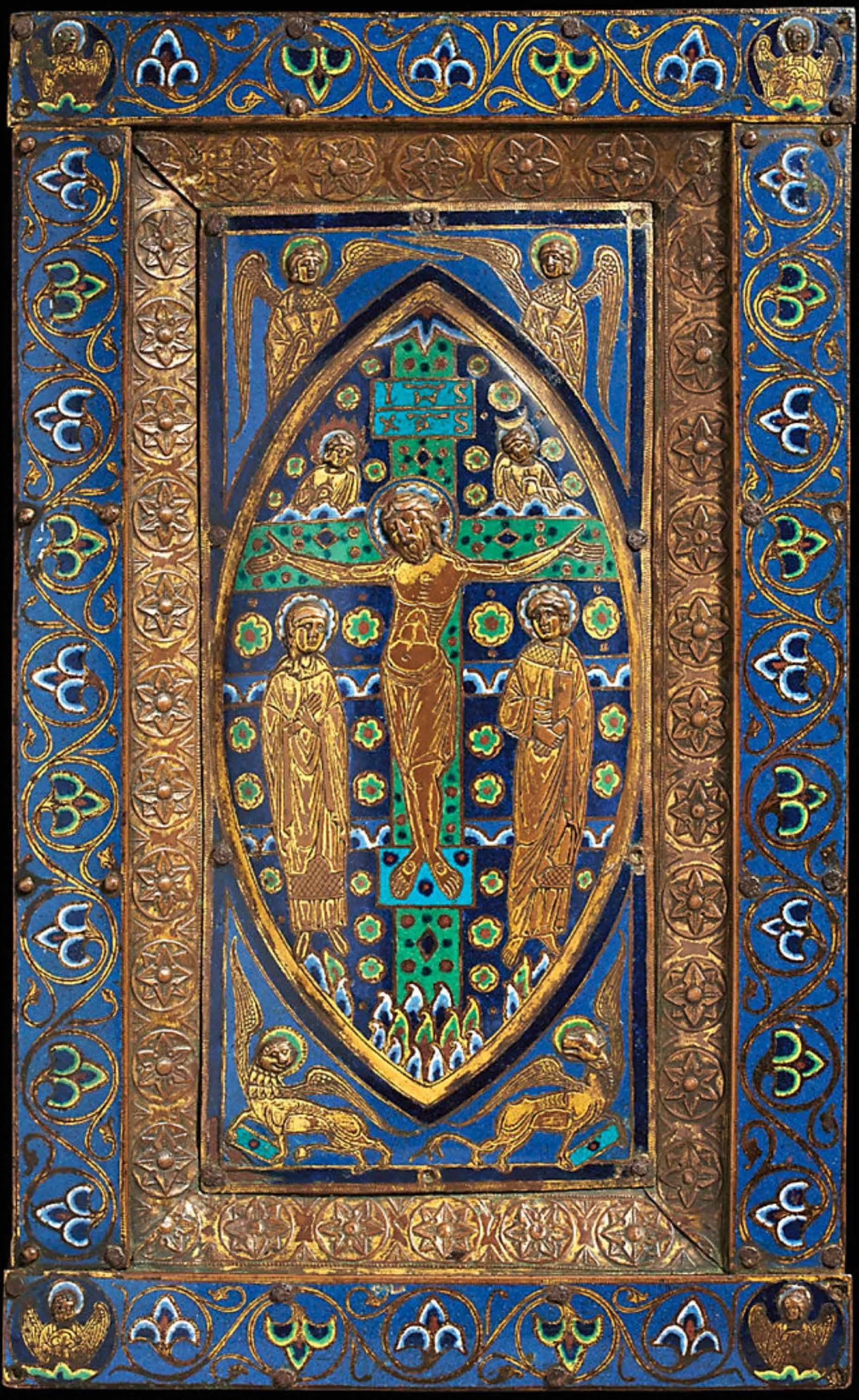A RECTANGULAR GILT-COPPER AND POLYCHROME CHAMPLEVE ENAMEL BOOK COVER, LIMOGES, CIRCA 1190-1200,