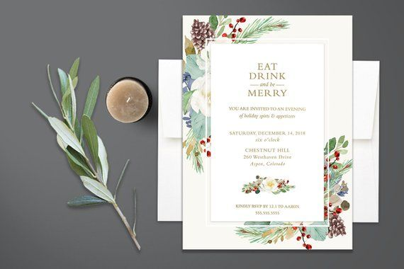 Holiday Party Invitation Template Christmas Eat Drink Be Merry