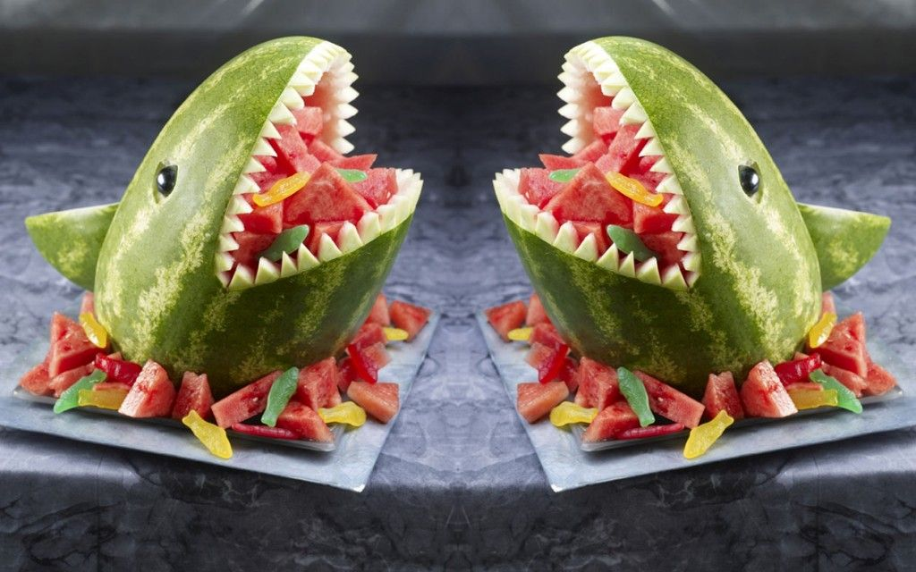 Shark Watermelon Carving #sharkweekfood