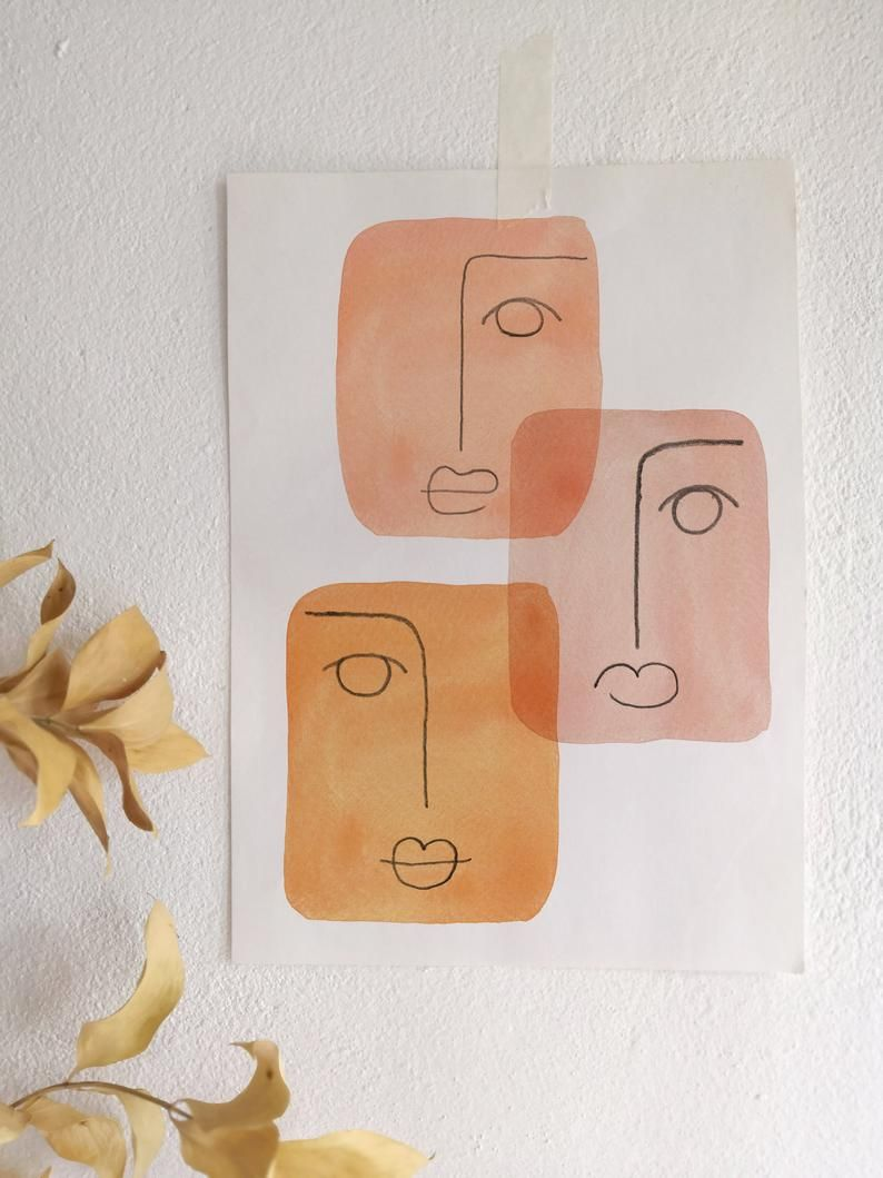 Mid-century modern art Printable wall art Abstract faces Print Downloadable Orange tone print Line drawing art